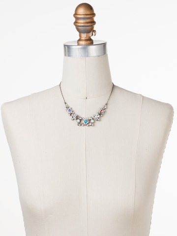 Crossover Statment Necklace in Antique Silver-tone White Bridal displayed on a necklace bust