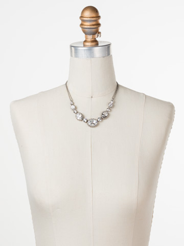 Camellia Necklace in Antique Silver-tone Crystal displayed on a necklace bust