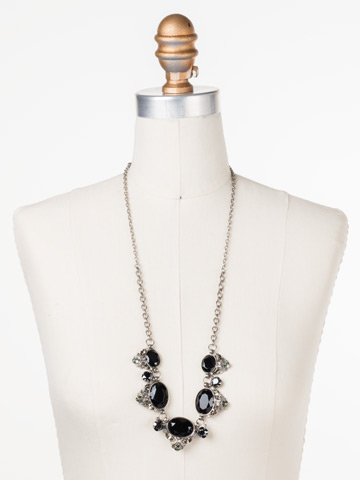 Flora Filigree Necklace in Antique Silver-tone Black Onyx displayed on a necklace bust
