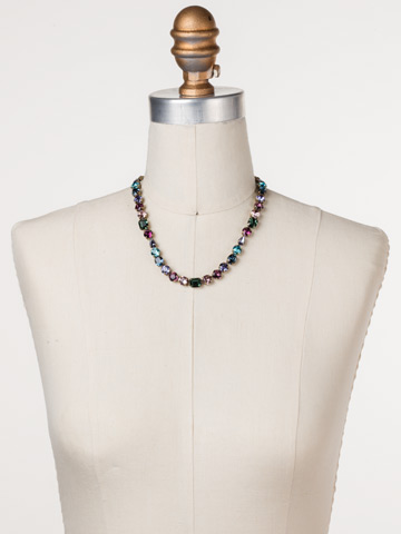 Tansy Line Necklace in Antique Gold-tone Jewel Tone displayed on a necklace bust