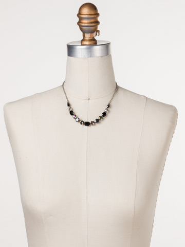 Tansy Half Line Necklace in Antique Silver-tone Black Onyx displayed on a necklace bust