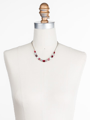 Tansy Half Line Necklace in Antique Silver-tone Crimson Pride displayed on a necklace bust