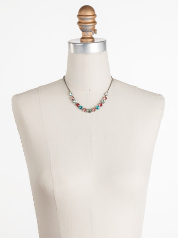 Tansy Half Line Necklace in Antique Silver-tone Vivid Horizons displayed on a necklace bust
