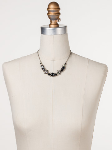 Balsam Necklace in Antique Silver-tone Black Onyx displayed on a necklace bust