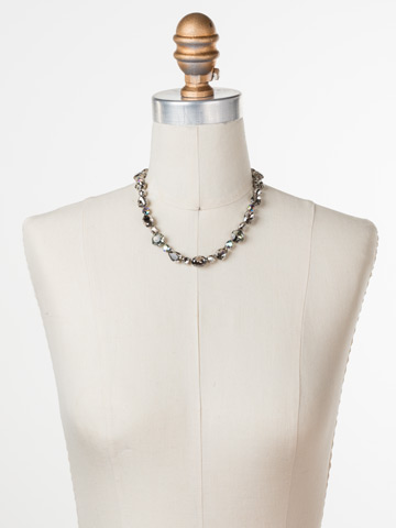 Narcissus Necklace in Antique Silver-tone Crystal Rock displayed on a necklace bust