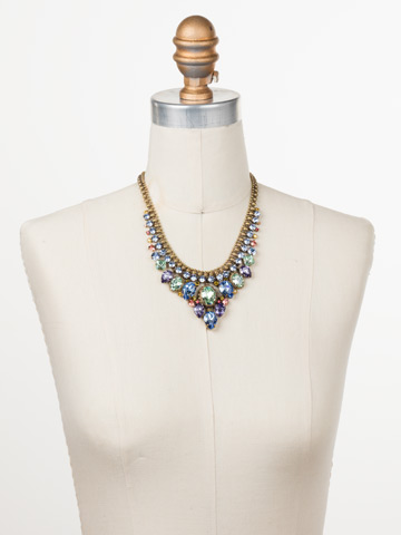 Protea Statement Necklace in Antique Gold-tone Bohemian Bright displayed on a necklace bust