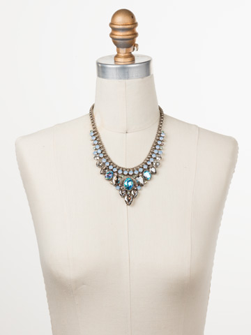 Protea Statement Necklace in Antique Silver-tone Pastel Prep displayed on a necklace bust