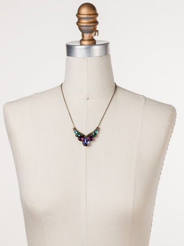 Peared Up Necklace in Antique Gold-tone Jewel Tone displayed on a necklace bust