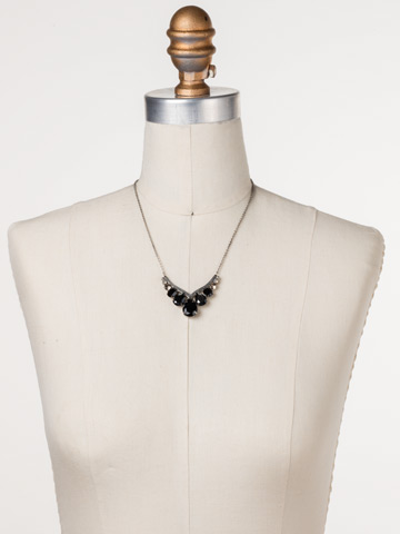 Peared Up Necklace in Antique Silver-tone Black Onyx displayed on a necklace bust