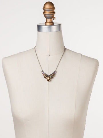 Peared Up Necklace in Antique Silver-tone Mirage displayed on a necklace bust
