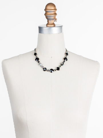 Full Circle Necklace in Antique Silver-tone Black Onyx displayed on a necklace bust