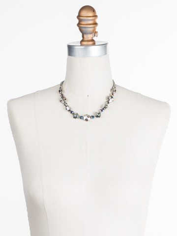 Full Circle Necklace in Antique Silver-tone Crystal Rock displayed on a necklace bust