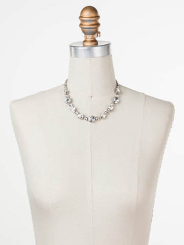 Full Circle Necklace in Antique Silver-tone Crystal displayed on a necklace bust