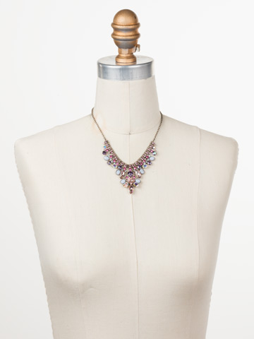 Vervain Statement Necklace in Antique Silver-tone Stargazer displayed on a necklace bust