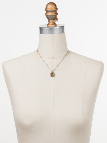 Opulent Octagon Necklace in Antique Silver-tone Heavy Metal displayed on a necklace bust