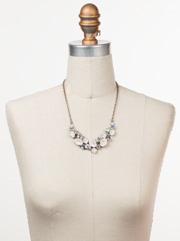 Forget-Me-Not Necklace in Antique Silver-tone Glacier displayed on a necklace bust