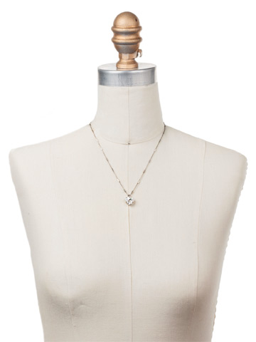 Perfectly Pretty Necklace in Antique Silver-tone Crystal displayed on a necklace bust