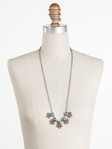 Alstromeria Necklace in Antique Silver-tone Vivid Horizons displayed on a necklace bust
