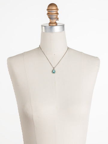 Arum Necklace in Antique Silver-tone Vivid Horizons displayed on a necklace bust