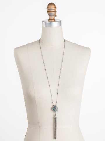 Freesia Necklace in Antique Silver-tone Vivid Horizons displayed on a necklace bust