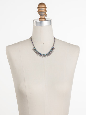 Mallow Necklace in Antique Silver-tone Moonlit Shores displayed on a necklace bust