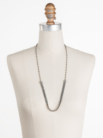 Nerine Necklace in Antique Silver-tone Vivid Horizons displayed on a necklace bust