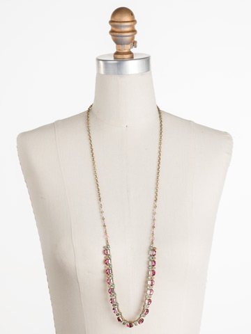 Salvia Necklace in Antique Gold-tone Radiant Sunrise displayed on a necklace bust
