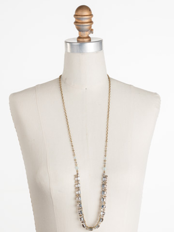 Salvia Necklace in Antique Gold-tone Washed Waterfront displayed on a necklace bust