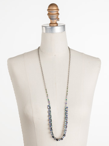 Salvia Necklace in Antique Silver-tone Moonlit Shores displayed on a necklace bust