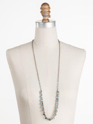 Salvia Necklace in Antique Silver-tone Vivid Horizons displayed on a necklace bust