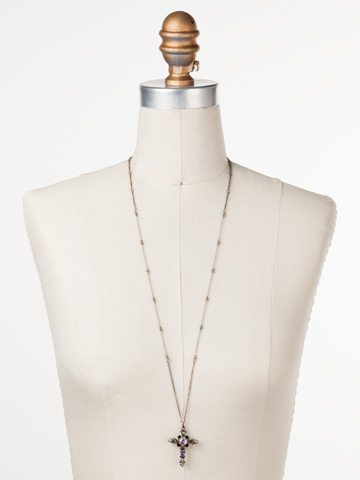 Elowen Necklace in Antique Silver-tone Black Tie displayed on a necklace bust