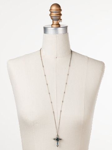 Elowen Necklace in Antique Silver-tone Blue Suede displayed on a necklace bust