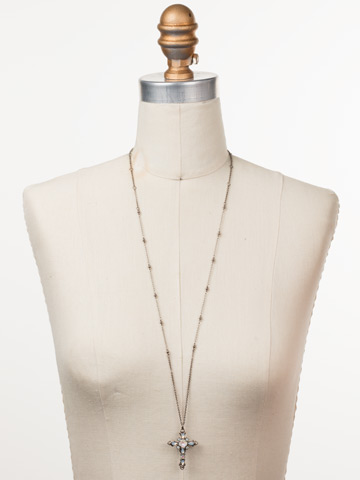 Elowen Necklace in Antique Silver-tone Glacier displayed on a necklace bust
