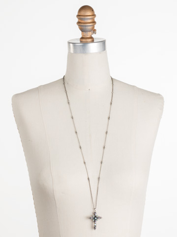 Elowen Necklace in Antique Silver-tone Moonlit Shores displayed on a necklace bust