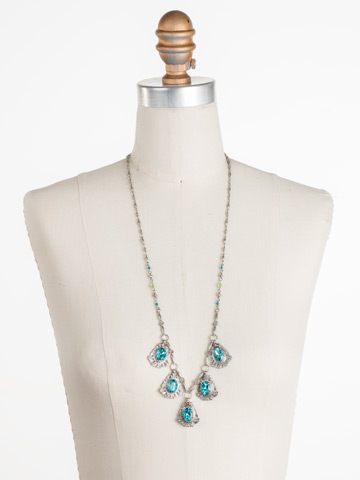 Aconitum Necklace in Antique Silver-tone Vivid Horizons displayed on a necklace bust