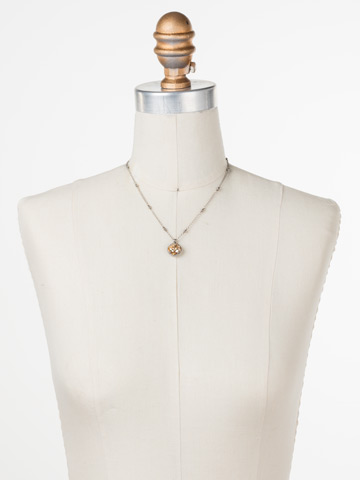 Cushion-Cut Solitaire Necklace in Antique Silver-tone Dark Champagne displayed on a necklace bust