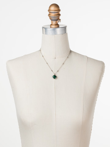 Cushion-Cut Solitaire Necklace in Antique Silver-tone Emerald displayed on a necklace bust