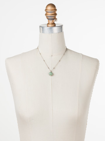 Cushion-Cut Solitaire Necklace in Antique Silver-tone Mint displayed on a necklace bust