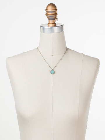 Cushion-Cut Solitaire Necklace in Antique Silver-tone Pacific Opal displayed on a necklace bust
