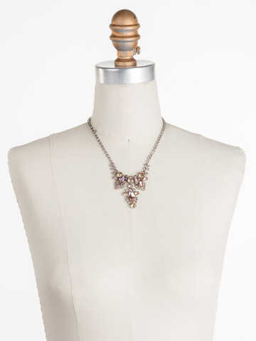Alder Necklace in Antique Silver-tone Satin Blush displayed on a necklace bust