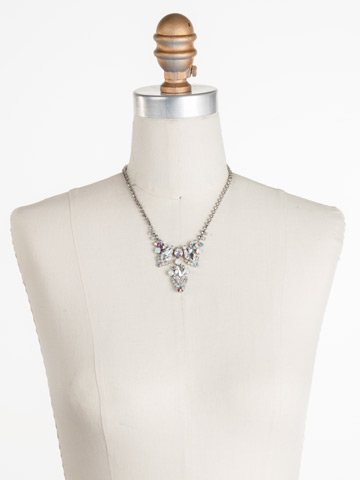 Alder Necklace in Antique Silver-tone White Bridal displayed on a necklace bust