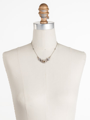 Viola Pendant Necklace in Antique Silver-tone Satin Blush displayed on a necklace bust