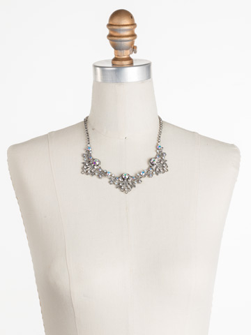 Linden Statement Necklace in Antique Silver-tone White Bridal displayed on a necklace bust