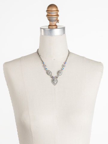 Moonflower Statement Necklace in Antique Silver-tone White Bridal displayed on a necklace bust