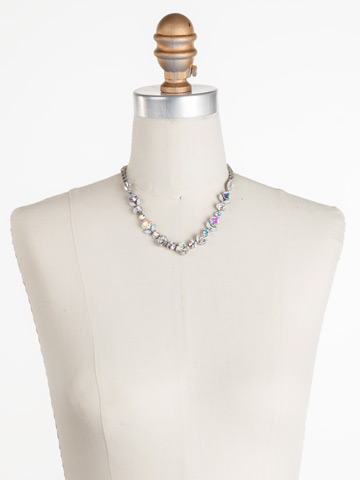 Sparkling Siren Necklace in Antique Silver-tone White Bridal displayed on a necklace bust