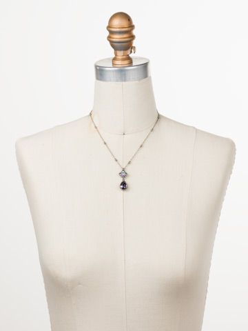 Posey Pendant Necklace in Antique Silver-tone Stargazer displayed on a necklace bust