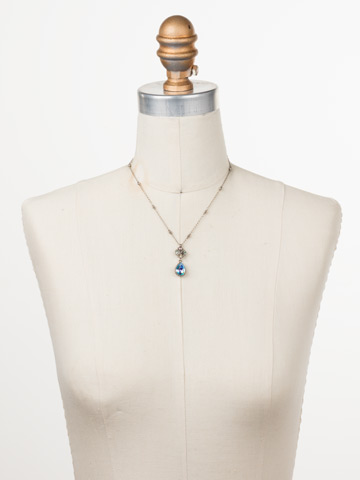 Posey Pendant Necklace in Antique Silver-tone Pastel Prep displayed on a necklace bust