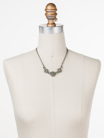 Snapdragon Necklace in Antique Silver-tone Lilac Pastel displayed on a necklace bust