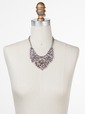 Azalea Necklace in Antique Silver-tone Lilac Pastel displayed on a necklace bust