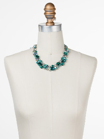 Bluebell Necklace in Antique Silver-tone Sweet Mint displayed on a necklace bust